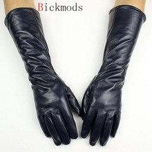 Uzun deri koyun derisi eldiven kadın düz stil kadife astar sonbahar sıcak koyu mavi parmak eldiven kol setleri