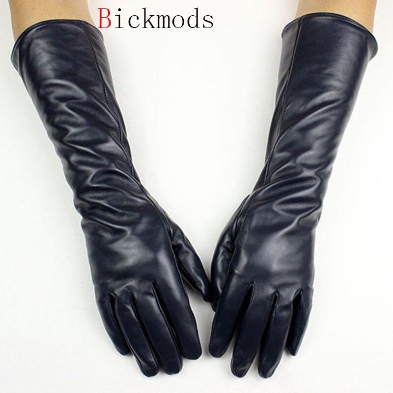Long Leather Sheepskin Gloves Female Straight Style Velvet Lining Autumn Warm Dark Blue Finger Glove Arm Sets