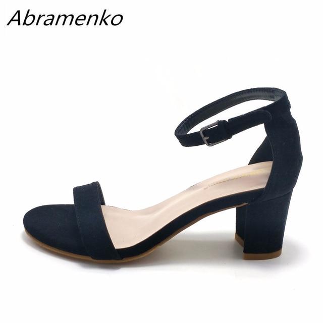 d7b61ec87e Abramenko Mulheres Sandálias de Verão Dedo Aberto das Mulheres Sandálias de  Salto Baixo Do Bloco 8