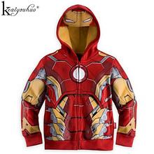 KEAIYOUHUO 2019 wiosna jesień chłopięce płaszcze Terry Avengers Iron Man superhero hooded Boys kurtki dzieci Odzież wierzchnią odzieży dziecięcej tanie tanio Odzież wierzchnia i Płaszcze Boys Jacket Chłopców Z KEAIYOUHUO Pełne Czesankowa Pasuje do rozmiaru Weź swój normalny rozmiar
