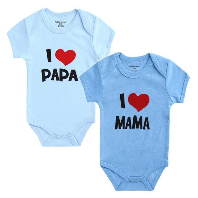 2 PCS/LOT nouveau-né bébé vêtements à manches courtes fille garçon vêtements j'aime Papa maman conception 100% coton barboteuses de bebe Costumes blanc 3