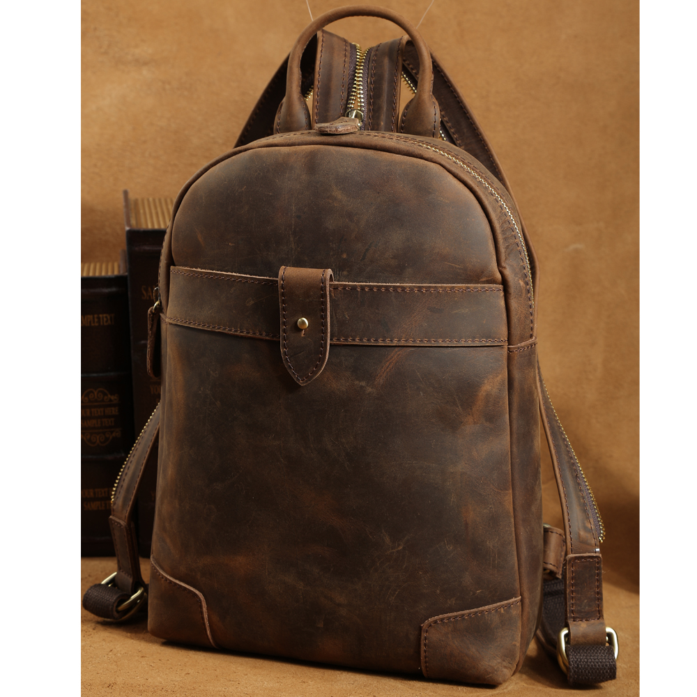 Tiding Small Genuine Leather Backpack Retro Style Cowhide Leather Cross body Bag For iPad Boy Travel Casual Day pack 3161 tiding luxury genuine leather solid black color backpack vintage style student bag travel luggage bag backbag