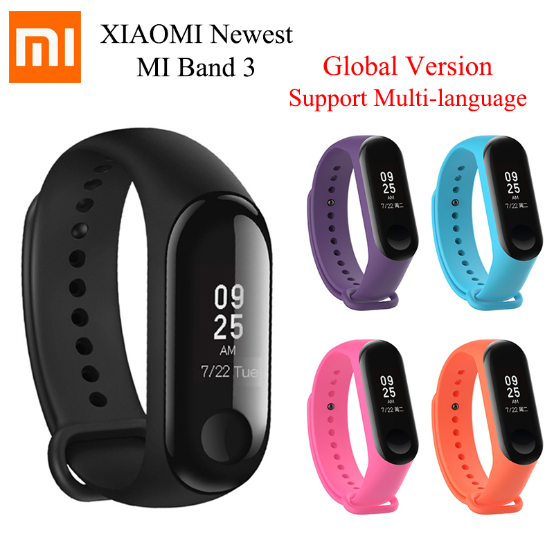 Original Xiaomi Mi Band 3 Global Version Multi language Band3 Smart Wristband Bracelet Touchscreen Reject Call