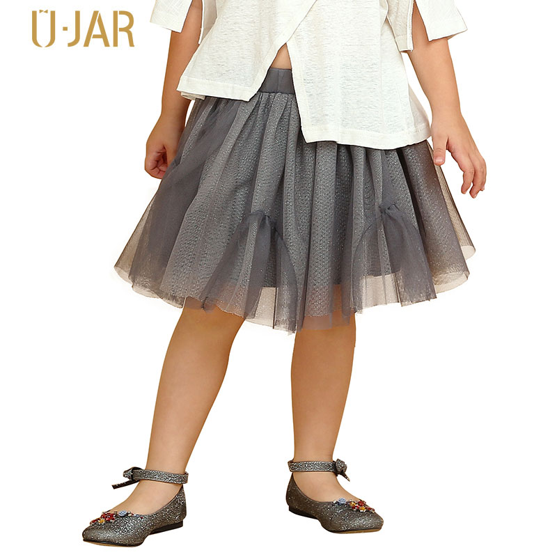 UJAR Brand Children A-line Knee-Length Mesh Summer Skirt Kids Gray Colour Casual Girl Skirts U52N701 guano apes guano apes proud like a god 180 gr colour