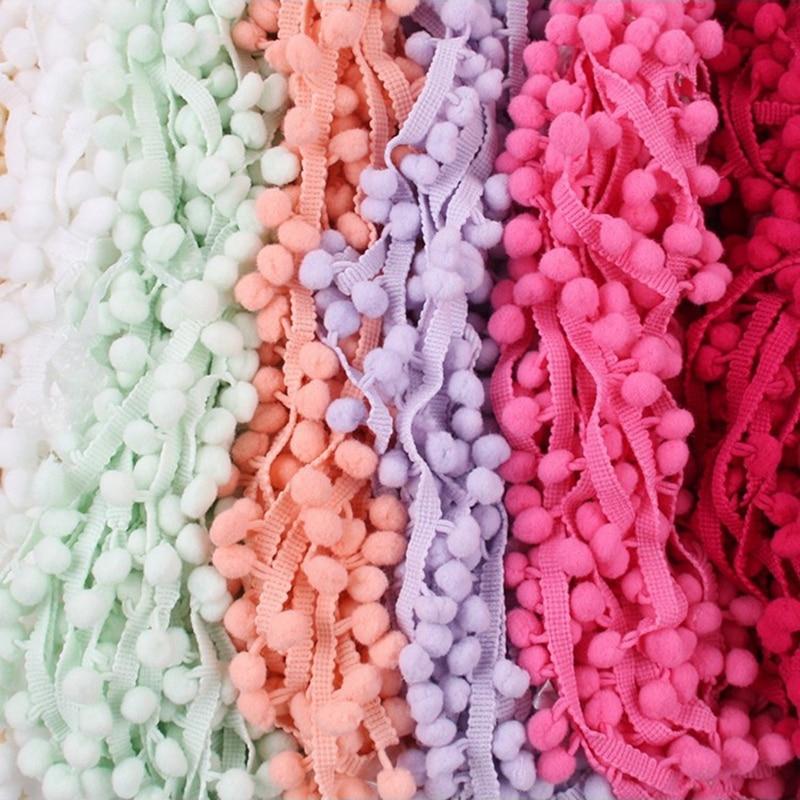 HTB1qVEaaU rK1Rjy0Fcq6zEvVXaR 5 Yards Pom Pom Trim Ball 10 mm MINI Pearl Pompom Fringe Ribbon Sewing Lace Kintted Fabric Handmade DIY Craft Accessories