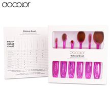 Docolor oval make up brush 6pcs professional toothbrush makeup brush set beauty oval brush for face makeup free shipping