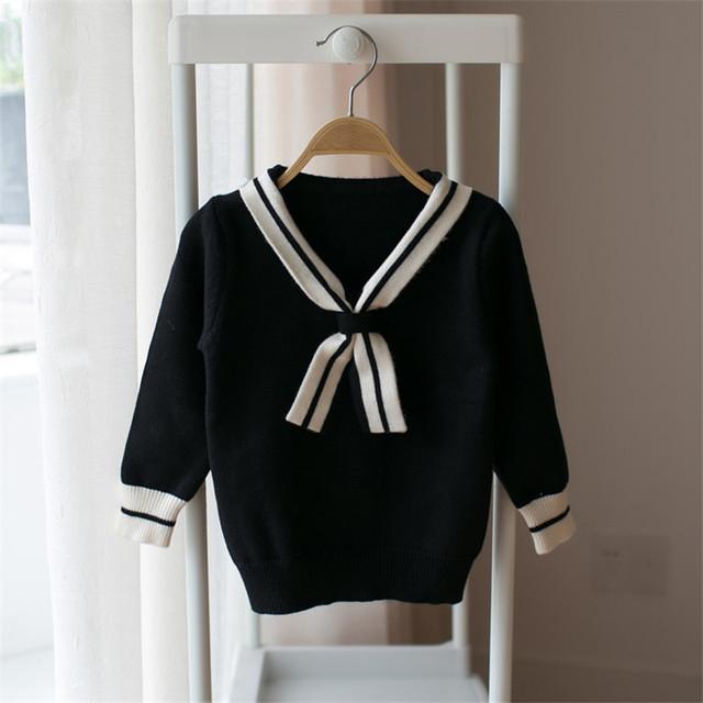 Meninas cardigan sweater navy estilo puxar fillette camisolas para bebê menina quente e macio crianças cardigan crianças boutique camisola