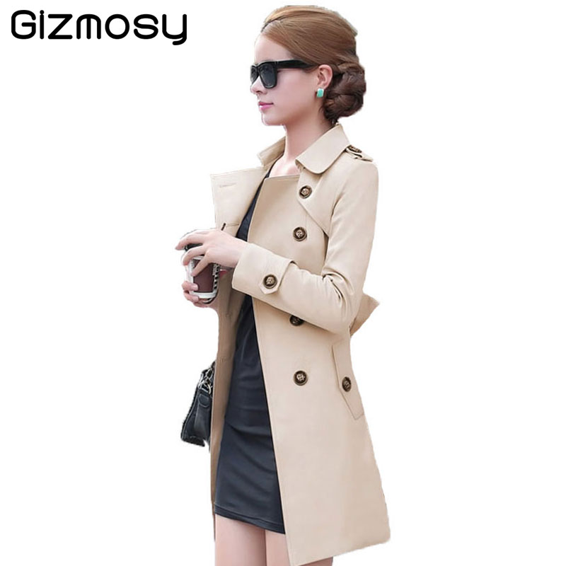 New 1PC   Trench   Coat For Women Double Breasted Slim Fit Spring Long Coat Casaco Feminino Abrigos Mujer Autumn Outerwear SY505