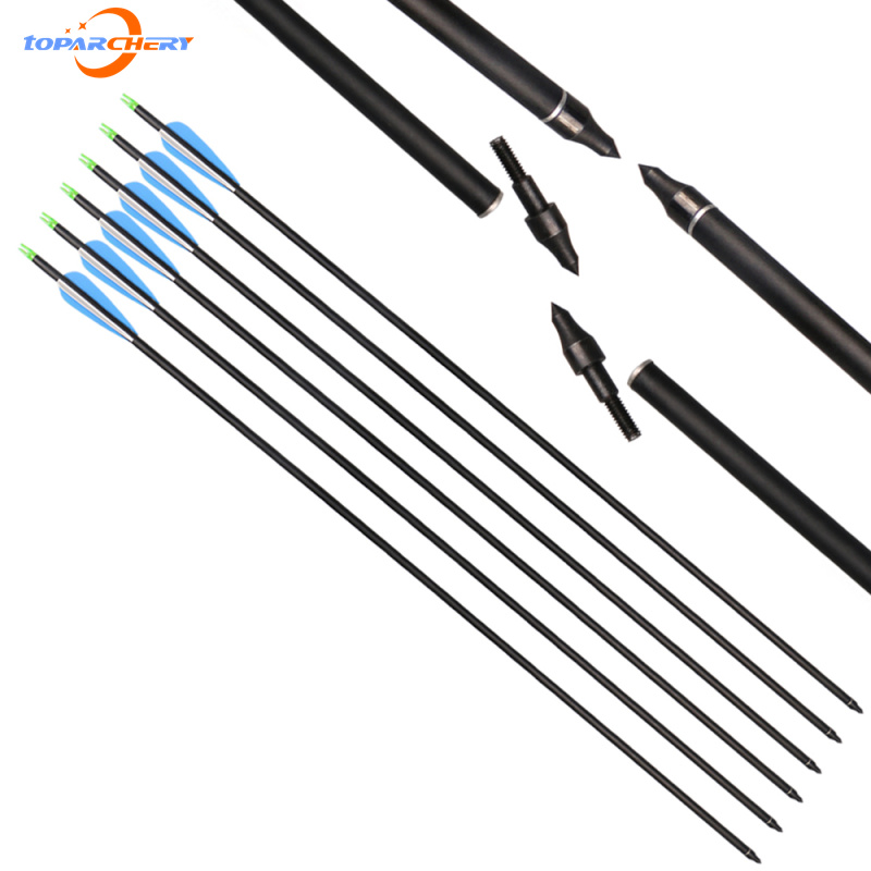 Uklonjivi Arrowheads strelice Mješoviti ugljik 12pcs / lot Spine 400 s plastičnim perje za Recurve Bow spoj Bow Praksa Lov