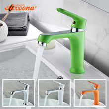 Accoona Colorful Basin Faucet Tap Mixer Finish Brass Vessel Stylish Sink Water Bathroom Faucets Chrome Modern Waterfall Faucets accoona accoona двойная с сифоном
