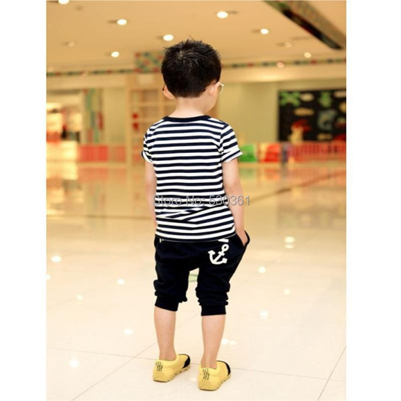 TANGUOANT-Free-shipping-hot-sale-summer-clothing-sets-kids-pants-Top-boys-girls-Navy-Stripe-kids-clothes-children-tracksuit-4