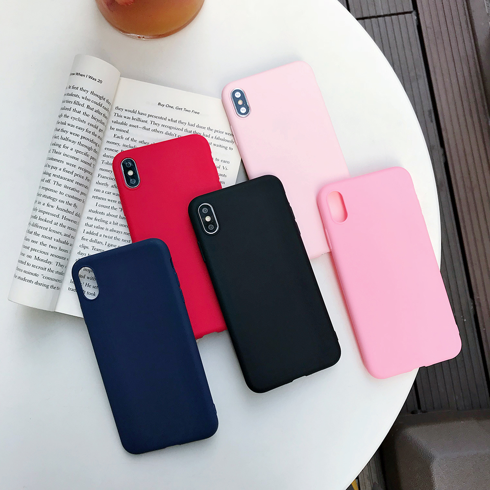 For apple iphone case Mobile phone silicone case For iphone7 6 5 8 X XS 8plus Soft Cell Phone Case silicone Cover Colored shell in Half wrapped Cases from Cellphones Telecommunications