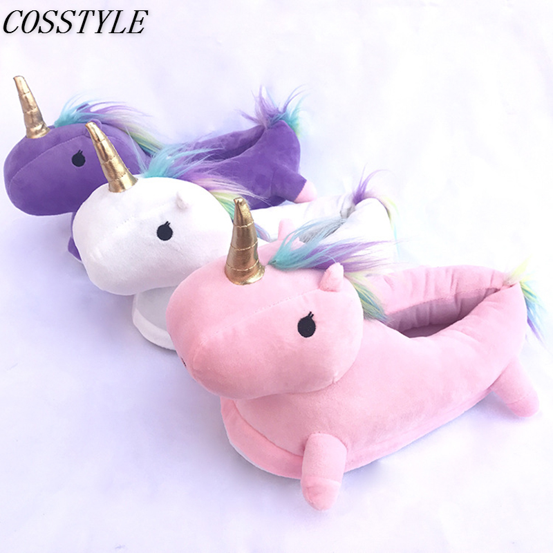 Cartoon Animal Unicorn Slippers Adult Kawaii Kigurumi Onesies Pajama Shoes Women Men Winter Soft Warm Slippers Cosplay Shoes
