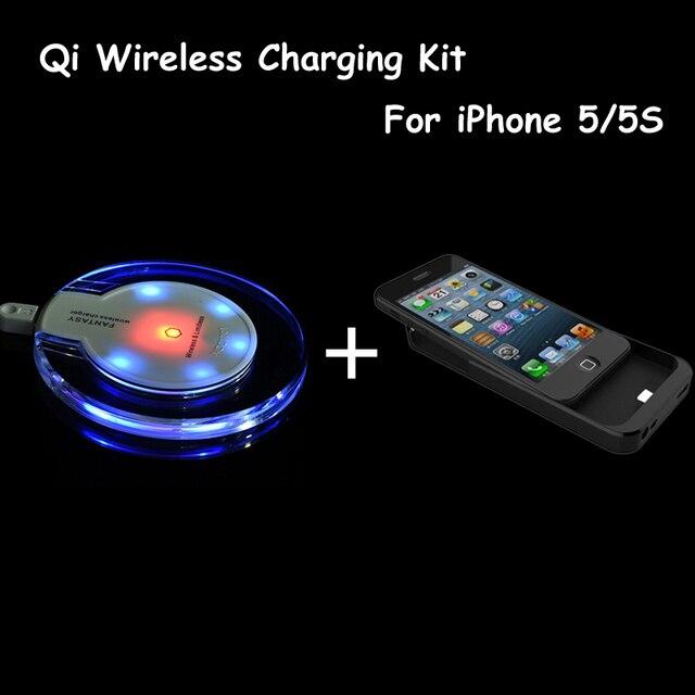 Qi sem fio do carregador pad + carregador sem fio de carregamento caso receptor para iphone 5s alta qualidade kit para iphone 5