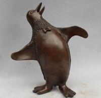 """Darmowe 10 """"Chiński Feng shui Sztuka Brązu Zoo Biegun Południowy Ptaki Pingwina Zwierząt Statua szybka w Posągi i rzeźby od Dom i ogród na"""