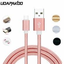 Cable de carga rápida de nailon para móvil, Cargador USB tipo C de nailon para huawei p9, p10, p20, mate 10 pro lite, samsung Galaxy S10, S10e, s8, S9, a3, a5, a7, 2017