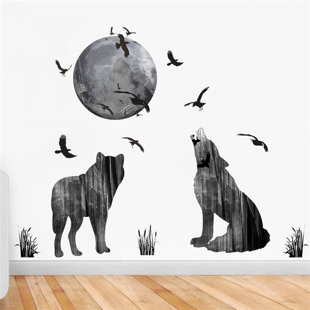 wolf howl in moon night flying birds wall stickers home decorations