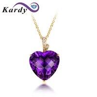 Romantice Lover Gift Natural Amethyst Heart Shape Gemstone Diamond 14K Yellow Gold Promise Engagement Wedding Necklace Pendant