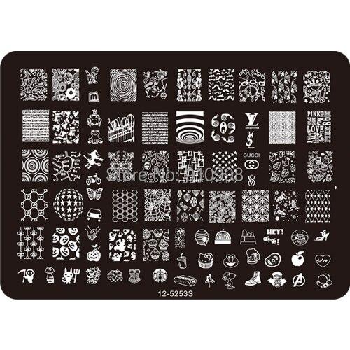Free shipping Medium Size Full Nail Art Stencil Print Metal Template Konad Stamping Plates