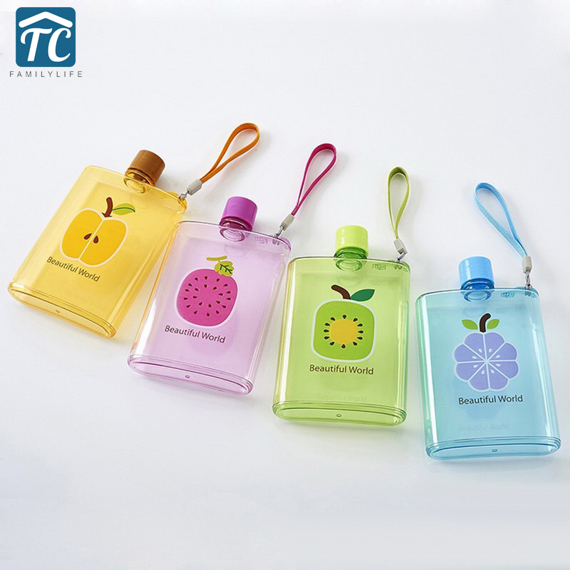 350ml Cute Flat Water Bottle Printed Fruit Multicolor Portable Girl Student Coffee Milk Drinkware Travel Leak Proof Outdoor Hike