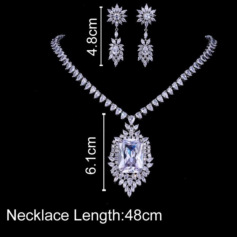 Emmaya Zircons AAA Quality Cubic Zirconia Big Rectangul Royal Blue Bridal Wedding Evening Earring Necklace Jewelry Set For Women 3