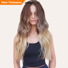 INHAIR CUBE 26 Inch Dark Roots Ombre Wig Synthetic Long Wavy Hair Wigs with Bangs Simulation Scalp