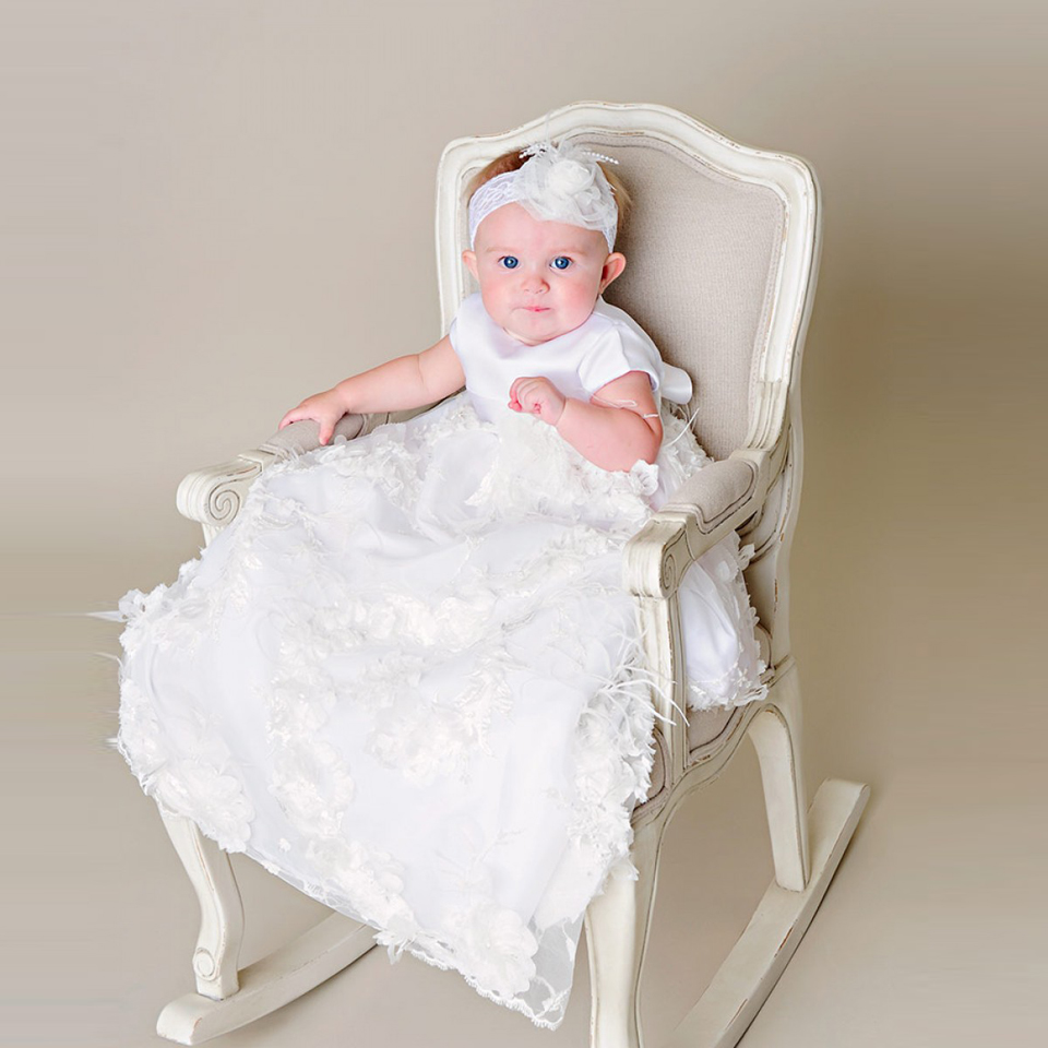 Stunning Angela Blessing Robe Ruffles Exquisite Ethereal Handmade Flower Off White Blessing Christening Gown & Bonnet With Sash