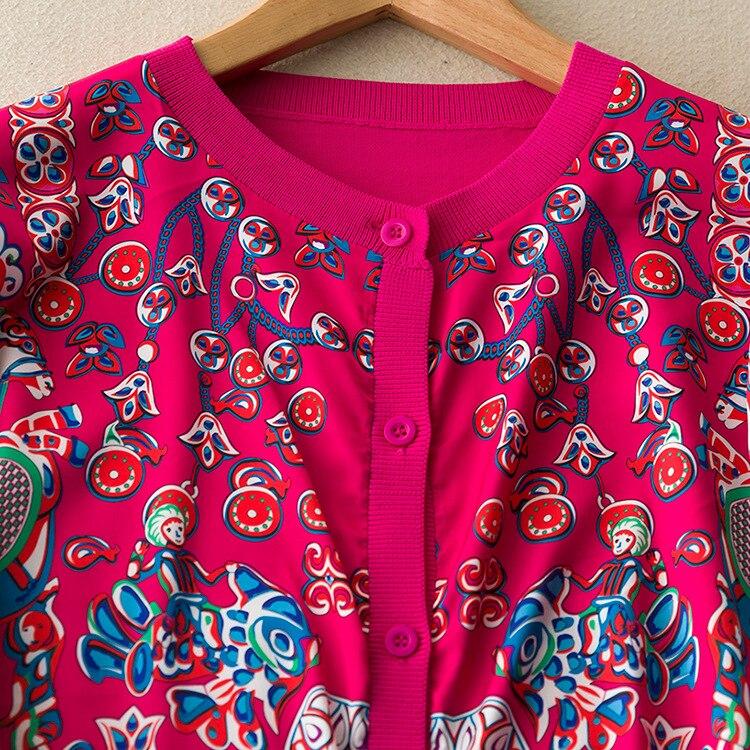 Micosoni 고품질 2019 작풍 새로운 가을 장미 인쇄 빨간 실크 니트 여자의 카디건 스웨터 일정한 가득 차있는 소매 니트웨어-에서가디건부터 여성 의류 의  그룹 3
