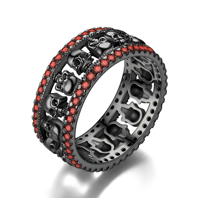 Skull Ring Women's Men Red Crystal Black Party Ring Birthstone skullWedding Valentine's Day  jewelry Dropshipping 1