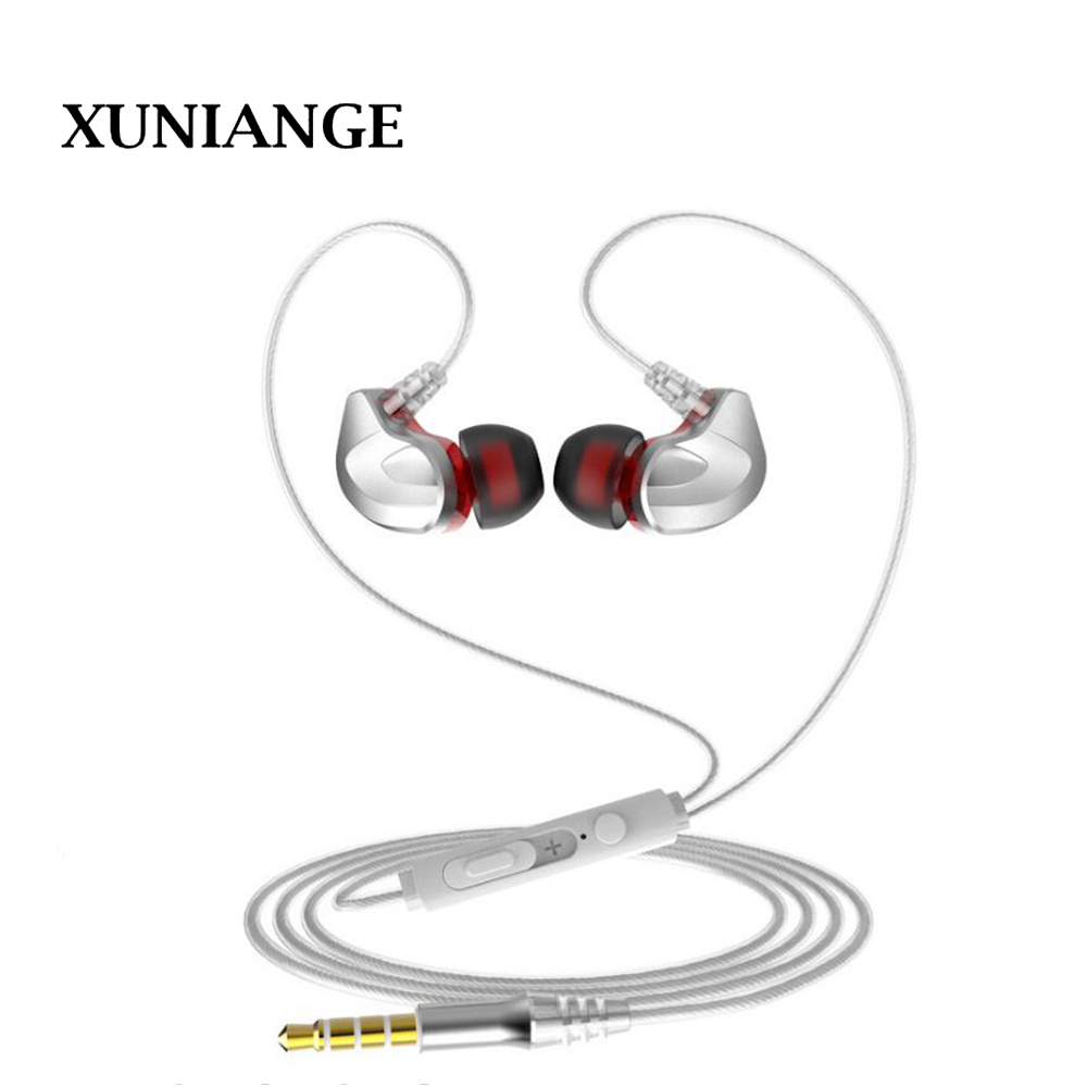 2018 XUNIANGE Metal belt wheat band tuning in-ear super bass computer phone headset manufacturers wholesale