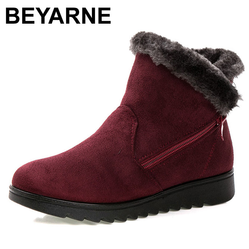 BEYARNE winter shoes ankle boots flat warm woman snow boots