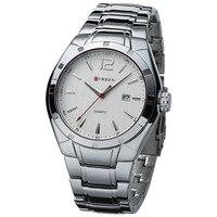 2017 새로운 curren 석영 전체 스틸 유행 캐주얼 시계 남성 비즈니스 남성 relojes 아저씨 간단한 손목 시계 선물