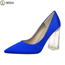 купить 2019 Luxury Brand Design Blue Green Evening Party OL Casual Satin Silk Women Pump Wedding Shoes Bride Clear Heels Crystal Pumps по цене 1527.33 рублей