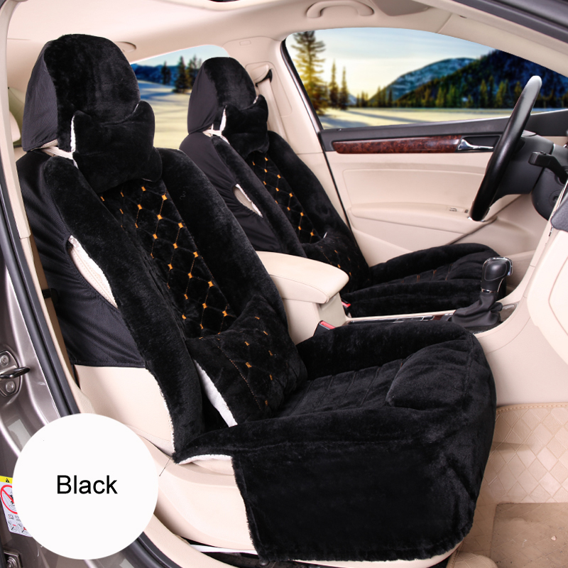 Universal Soft Plush Car Seat Cover Winter Faux Fur Automobiles Seat Covers Pad New Styling 10PCS Car Interior Accessories
