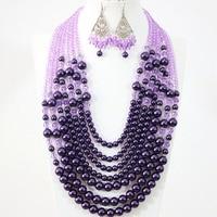 Bohemia fashion women purple shell pearl crystal beads 7 rows necklace earrings charms handmade jewelry set 19 27.5inch B1313