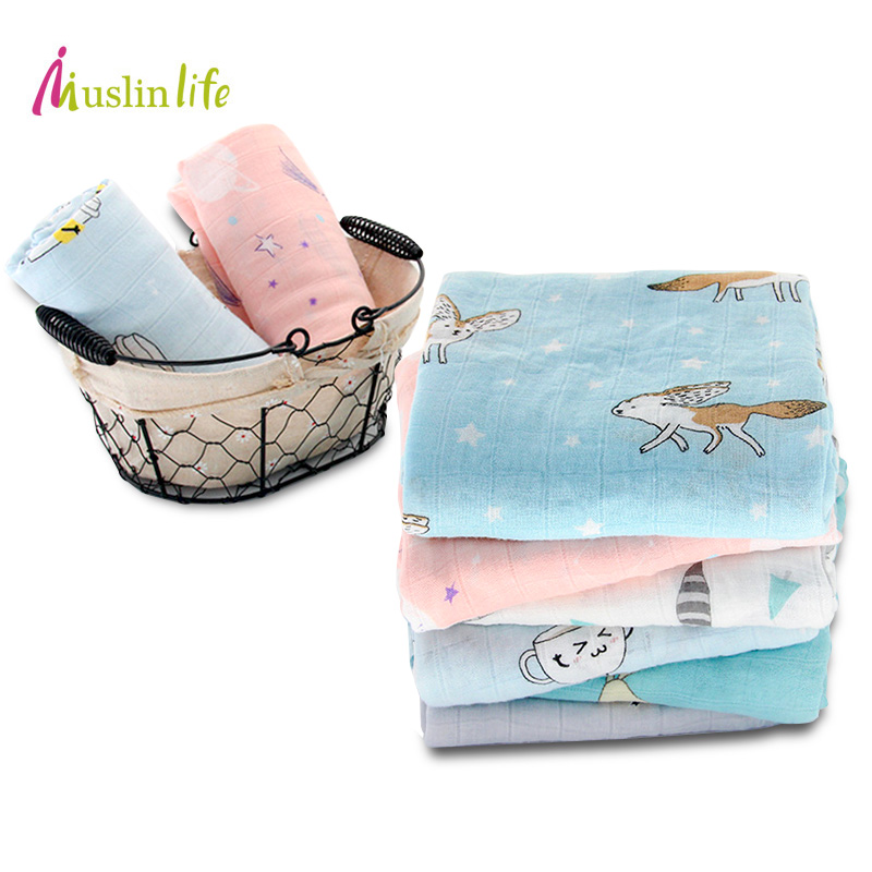 Muslinlife 100% Bamboo Fiber Baby Blanket Cute Cartoon Pattern Swaddle Super Soft Baby Warp Newborn Lovely Blanket Bath Towel