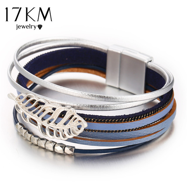 17KM Vintage Feather Beads Leather Bracelets For Women Bohemia  Wrap Multiple Layers Leaf Charm Bracelet & Bangles Jewelry Gifts