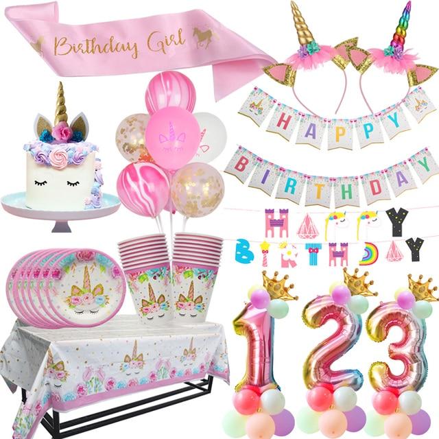 WEIGAO Единорог партии одноразовой посуды партии Бумага чашка тарелка торт Топпер девочка сначала День рождения украшения Baby Shower