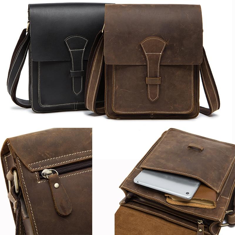 Crazy Horse Leather Men Bag Male Small Shoulder Messenger Bags Crossbody Bags Messenger Bag Men Leather 1093 Black