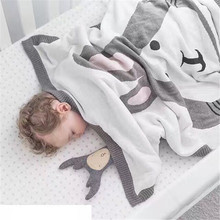 120*90cm Cute Fox Rabbit Baby Blanket For Kids Cotton Knitted Warm Knitting Soft Bed Spread Bath Towels Play Mat Newborn Swaddle