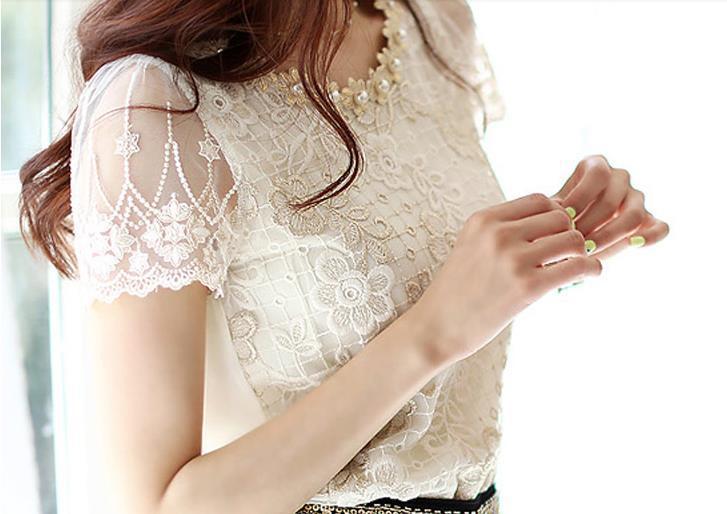 moda qadınlar qısa qol ağ krujeva qadın bluza blusas de rendas - Qadın geyimi - Fotoqrafiya 2
