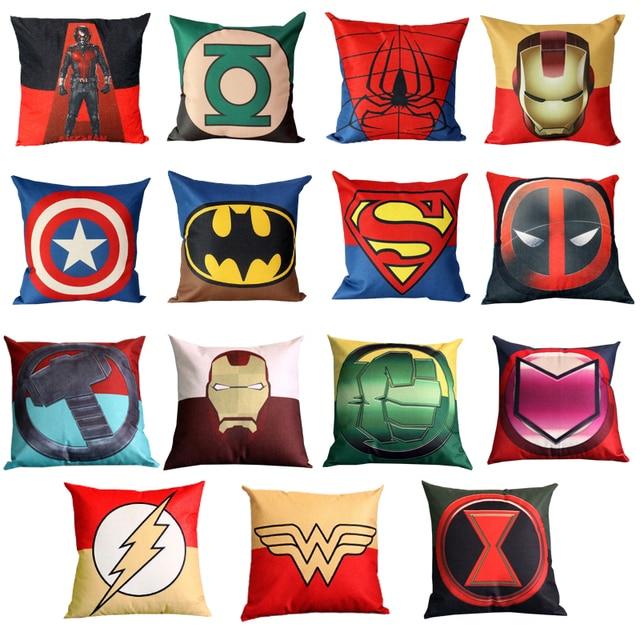 Batman Car Chair Antique Cushions Printed Super Hero Square Cushion Covers Superman Captain American Pillow Case Sofa Deco Throw