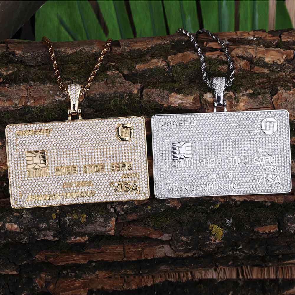 GUCY mode carte de crédit pendentif collier avec chaîne de Tennis couleur or cubique Zircon hommes Hip hop bijoux cadeaux