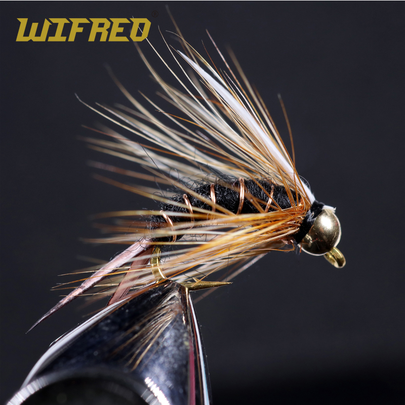 Wifreo 8PCS Size 12 14 Brass Bead Head Prince Nymph Stonefly Nymph Caddis Fly Black Purple Brown White Color Fishing Lure Bait
