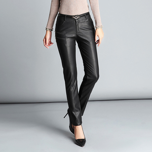 Image 2 - Sıcak PU deri orta bel pantolon kadınlar seksi kalça moda sonbahar kış kalem çevre deri pantolon pantolon kadın Pantalon Femme 2020