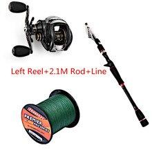 Fishing Set with FISHDROPS LB200 Fishing Reel + Fishing Line + Baitcasting Fishing Rod