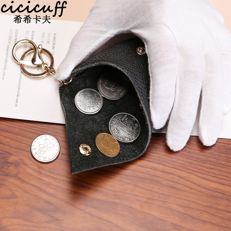 New First Layer Cowhide Classic Simple Triangle Handmade Coin Purse Practical Cool Personality Genuine Leather Mini Change Purse