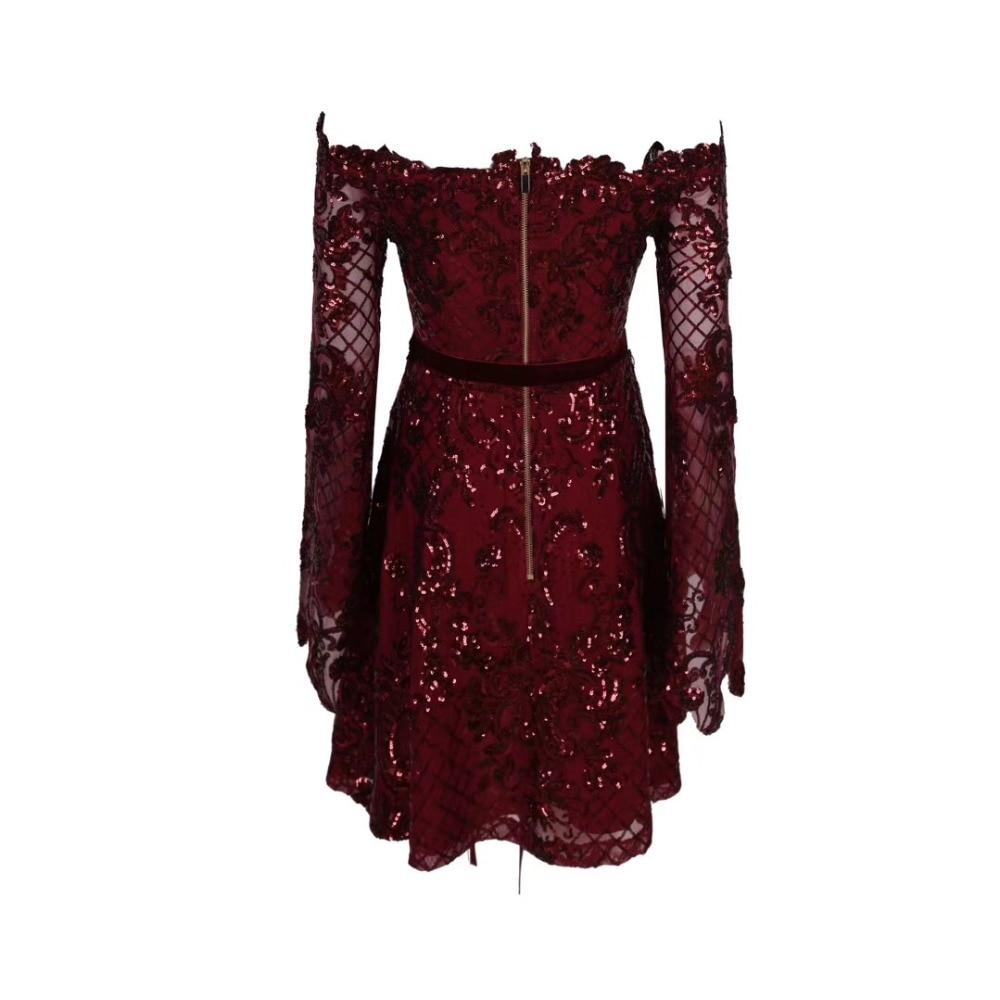 2019 Tendance Nouveau Rouge Femme Encolure Luxe Pour Celebrity Designer Robe Sexy De Plissée 7Iqr4z7w