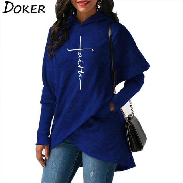 5XL Autumn Hoodies Sweatshirts Women Long Sleeve Faith Embroidery Warm Hooded Pullover Tops Plus Size Casual Female Sweatshirt 3