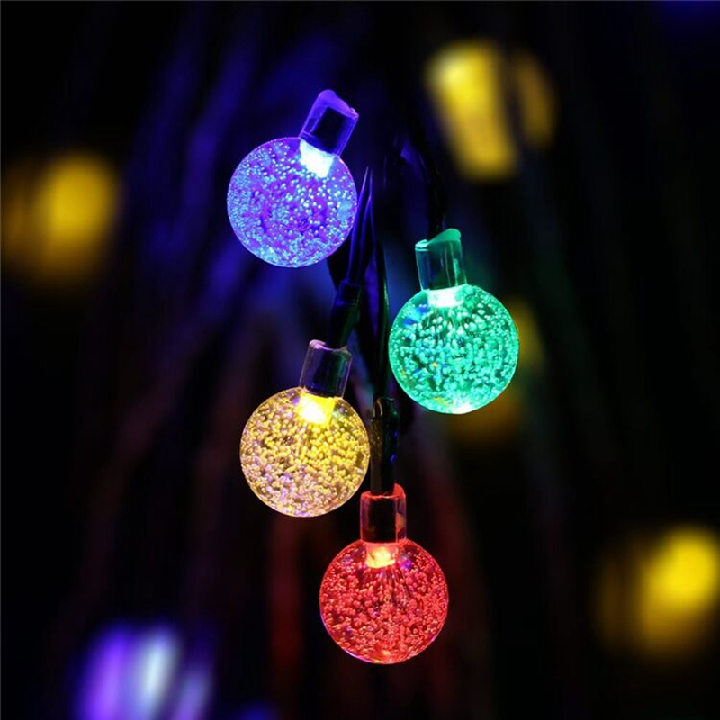 Us 16 18 10 Off Led Solar String Lights Ball Pendant 7m 50leds Waterproof Outdoor Garden Christmas Party Festival Decorative Lightings In